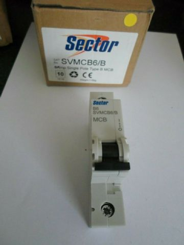 NEW SECTOR B6 6 AMP SVMCB6/B 6KA SINGLE POLE MCB CIRCUIT BREAKER (CURRENT MODEL)